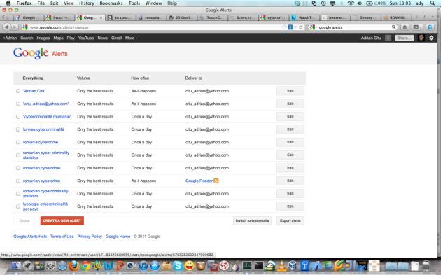 Figure 4. Le page de Google Alerts pour notre veille