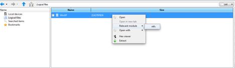Chargement d'un système de fichiers NTFS dans l'IHM de DFF